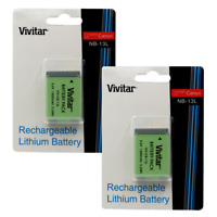 Two Vivitar Replacement Battery Canon NB 13L for Canon SX620 HS Digital Camera