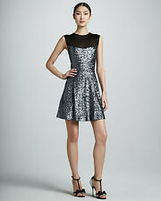 NWT Nicole Miller Silver Sequined Illusion Mesh Neck & Back Pleated Dress 4 $365