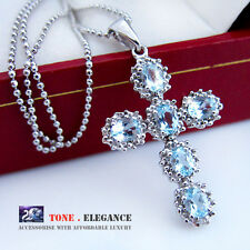 Genuine diamond topaz solid sterling silver cross Necklace w/Rhodium gold coat