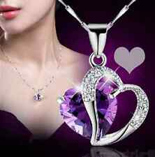 Silver Purple Amethyst Gemstone Heart Pendant Crystal NECKLACE PARTY Jewelry hs