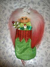 "Dam Troll Doll Vintage 1960s 2-5/8"" New Christmas Mohair & Emerald Glass Eyes"