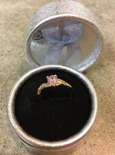 Beautiful Dainty Women's 18k Yellow Gold Pink Sapphire Ring Siz 8 Gift She'll ❤️