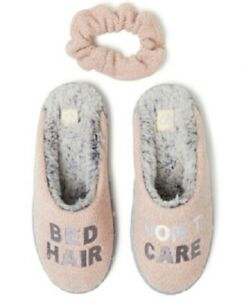 """DEARFOAMS-Womens """"Bed Hair Don't Care"""" Chenille Scuff Slipper,Pink, Sm(5-6),NWOT"""