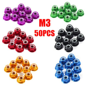 AU 50PCS M3 Alloy Hex Nuts Nylon Insert Lock Nut Nyloc Nuts Flanged For RC FPV