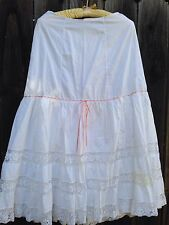 Vintage 19th Century White Cotton and Lace Petticoat Skirt