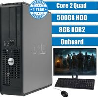 DELL CORE 2 QUAD COMPUTER DESKTOP TOWER WINDOWS 10 8GB 500GB HDD MONITOR AND KBM