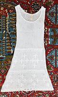 Sundance Catalog XS White Crochet Dress A Line Open Knit Sleeveless Short Boho
