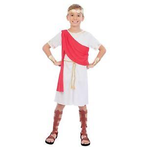 Ancient Greek Toga Boy Ruler Golden Fancy Dress Outfit Costume Boys Book Week
