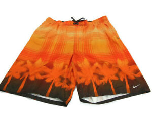 Nike Trunks Orange Gray Plaid Palm Tree Side Pockets Flat Front Swim Mens 2XL