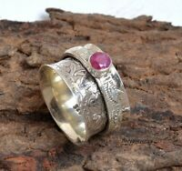 Ruby Stone Solid 925 Sterling Silver Spinner Ring Meditation Statement Ring a67