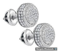 diamond .02 carat round stud screwback earrings 925 white unisex button men