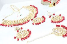 Indian Bollywood Red Padmavati Necklace Earrings Set Partywear Wedding Jewelry