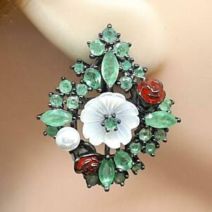 Genuine 9.00ctw Mother of Pearl & Colombian Emerald Rhodium 925 Cluster Earrings