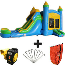 28ft Blue & Yellow Wet/Dry Commercial Inflatable Bounce House Water Slide Combo