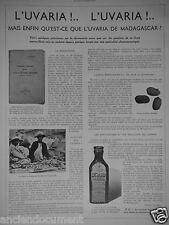 PUBLICITÉ 1936 L'UVARIA DE MADACASCAR FRILEUSE FRUITS CATOCARPA - ADVERTISING
