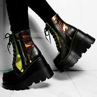 Black Holographic Snake Goth Platform Boots Rainbow PU Leather Sneaker Women
