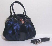 Borsa donna bauletto colore blu doppia tasca tracolla doppia maniglia velluto