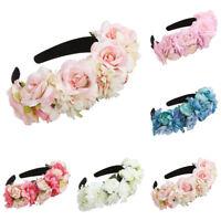 Boho Women Big Rose Flower Headband Crown Wedding Beach Hair Wreath Garland Hoop