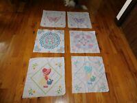 Sunbonnet Sue Quilt Block Lot COMPLETED Handmade Hearts Butterflies Cross Stitch