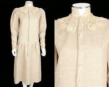 VTG 1980s LINEN BURLAP CANVAS VICTORIAN DRESS ANTIQUE IRISH LACE COLLAR OOAK
