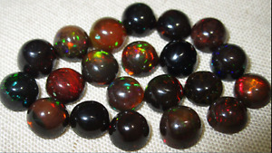 Natural Ethiopian Black Fire Opal Round Cabochon Excellent Quality Lot