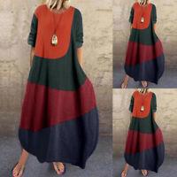 ZANZEA Women Long Sleeve Patchwork Long Shirt Dress Baggy Oversize Midi Dress