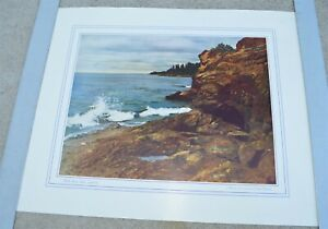 Large Old Print North Shore Lake Superior Crashing Waves Print by Kenneth Wright