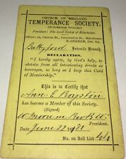 Rare Antique Tempérance Society Pledge / Declaration Abstinence Card! C.1881!