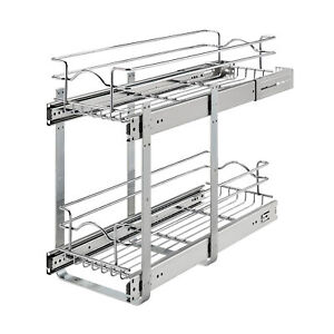 """Rev-A-Shelf 5WB2-0922CR-1 9"""" x 22"""" 2-Tier Cabinet Pull Out Wire Basket, Chrome"""
