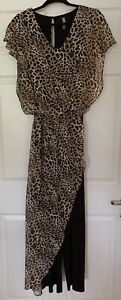 Jumpsuit with Leopard Printed Chiffon Overlay Last Tango Size Large