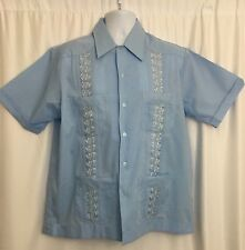 Guayabera Haband Vintage Men's Embroidered Cuban Wedding Shirt S/S Blue Sz L