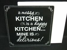 Glass Cutting Board A Messy Kitchen is a Happy Kitchen Mine is Delirious