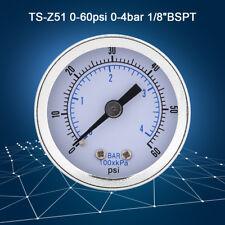 "0-60psi/0-4bar 1/8"" BSPT Thread Pressure Gauge Manometer for Gas Water Oil FZ"