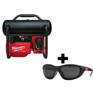 Milwaukee Electric Air Compressor 18-Volt Lithium-Ion And Tinted Safety Glasses