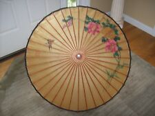 Antique Oriental Rice Paper Chinese Parasol Umbrella Signed Anniversary Gift