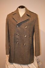 VTG Woolrich Gray Thin Wool Tweed Mackinaw style Jacket Coat Size 44 PeaCoat