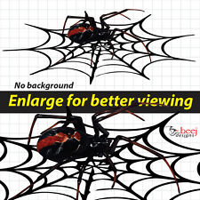 Redback in Web - 800mm  Red Back Black widow Spider sticker bonnet Insect Decal