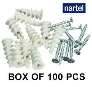 PLASTERBOARD NYLON FIXINGS SELF DRILL CAVITY WALL SPEED ANCHOR PLUGS AND SCREWS