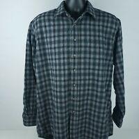 Pendleton Mens Sz Large 100% Wool Long Flannel Shirt Plaid Gray Red Check