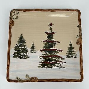 St Nicholas Square SNOW VALLEY Christmas Winter Holiday Square Dinner Plate