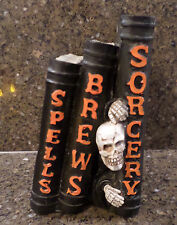 SPELL BOOKS BLACK - SPELLS BREWS SORCERY w/ SKULL GUY HALLOWEEN DECOR 1 PC NEW