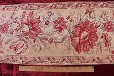 Antique French HandBlocked Indienne Border Or Stripe Printed Cotton Fabric c1840