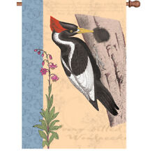 Ivory Billed WOODPECKER House Flag BIRD Pecking in the Woods