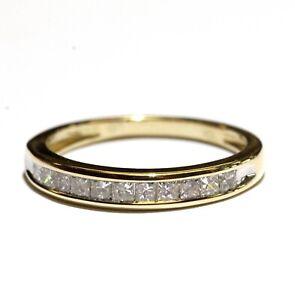 10k yellow gold .50ct princess diamond wedding band ring 1.8g vintage womens 6