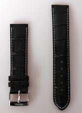 Wrist Watch Band Leather Black 20mm Zentra New High Quality Seam White E218