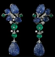 925 Sterling Silver Carved Sapphire & Emerald Flower Leaf CZ Dangle Earrings