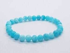 Amazonite Bracelet Round Bead 6mm Bracelet Cyan Kyanite Zircon Gemstone Yoga