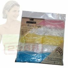 ( White, Yellow & Pink ) Set of 10 Disposable Plastic Shower Caps Standard Size