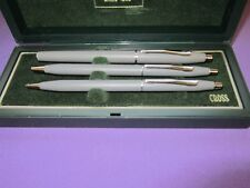 CROSS VINTAGE GRAY AND CHROME ROLLER BALL PEN  WITH PEN & PENCIL SET