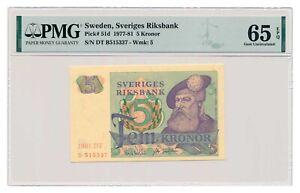 SWEDEN banknote 5 Kronor 1981 PMG MS 65 EPQ Gem Uncirculated